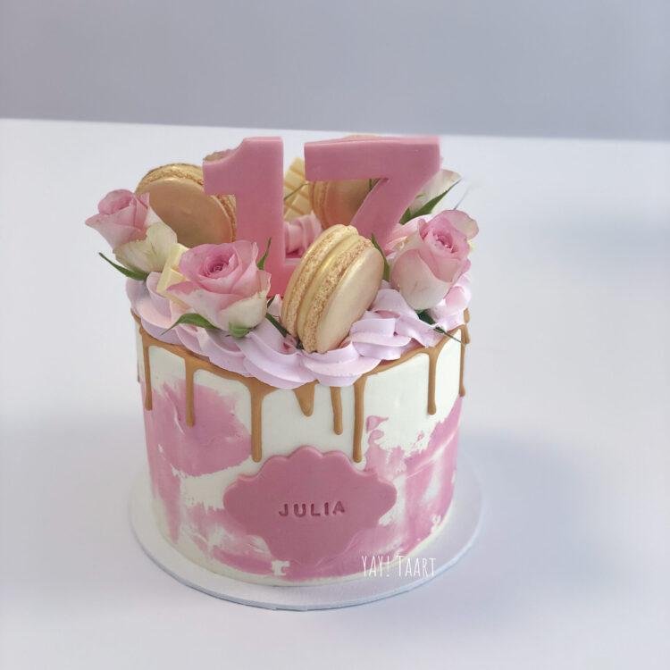 watercolor dripcake verse rozen bestellen breda taart