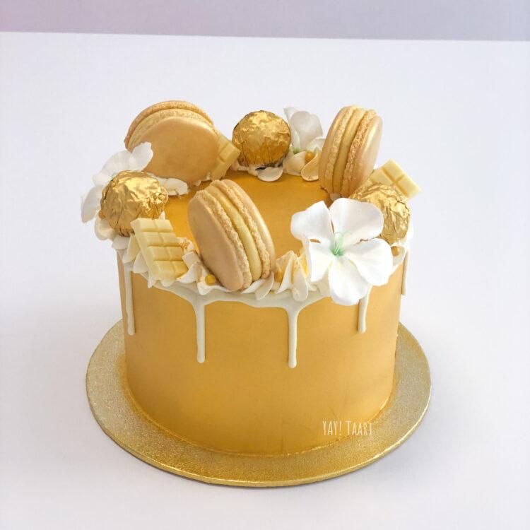 taart goud gouden cake gold dripcake ferrero macarons breda