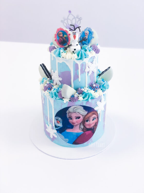 Frozen taart frozentaart dripcake breda olaf elsa anna