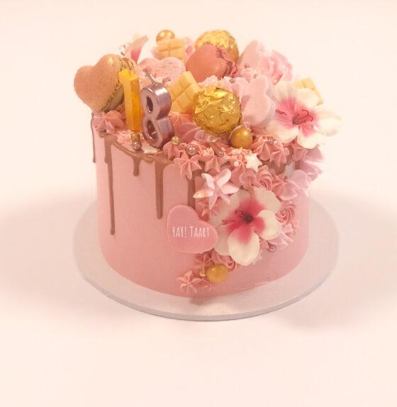 dripcake ferrero breda bestellen pink 18 flower