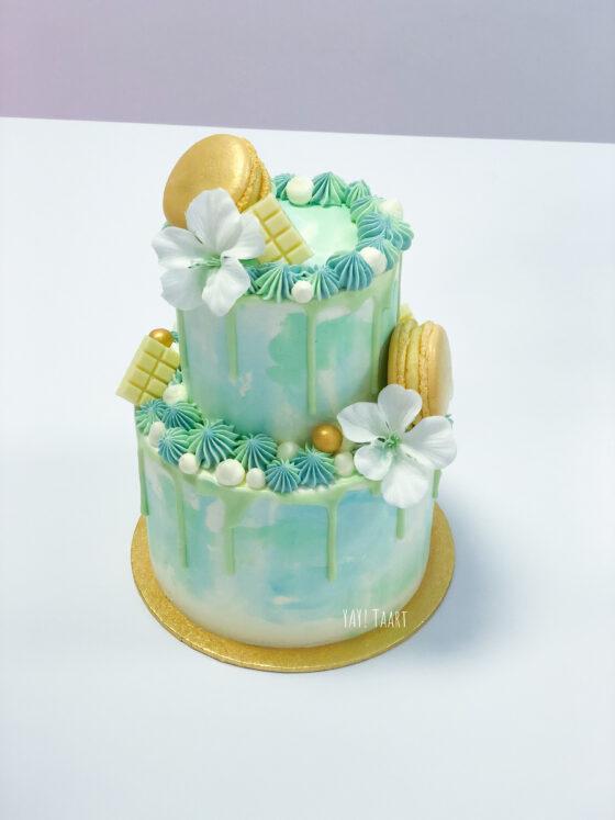 watercolor drip cake breda lichtblauw mintgroen blauw groen oosterhout roosendaal ettenleur macarons bloemen