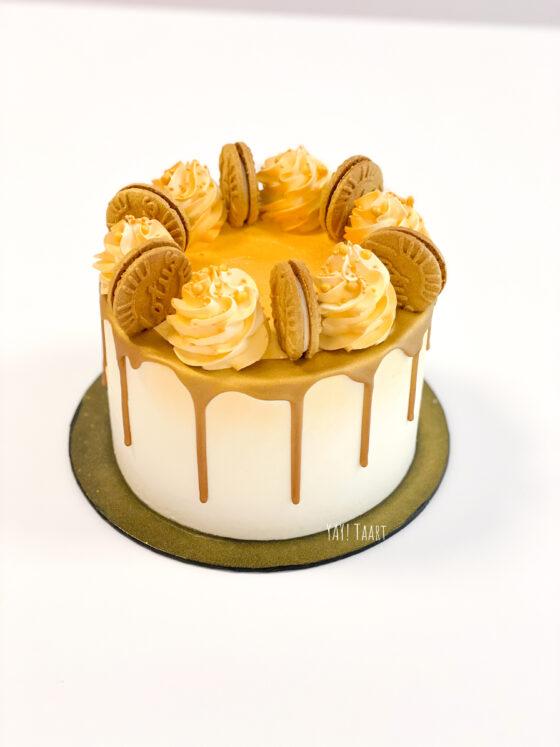 Lotustaart speculoostaart speculoos lotus breda botercreme buttercream koekjes gold goud dripcake