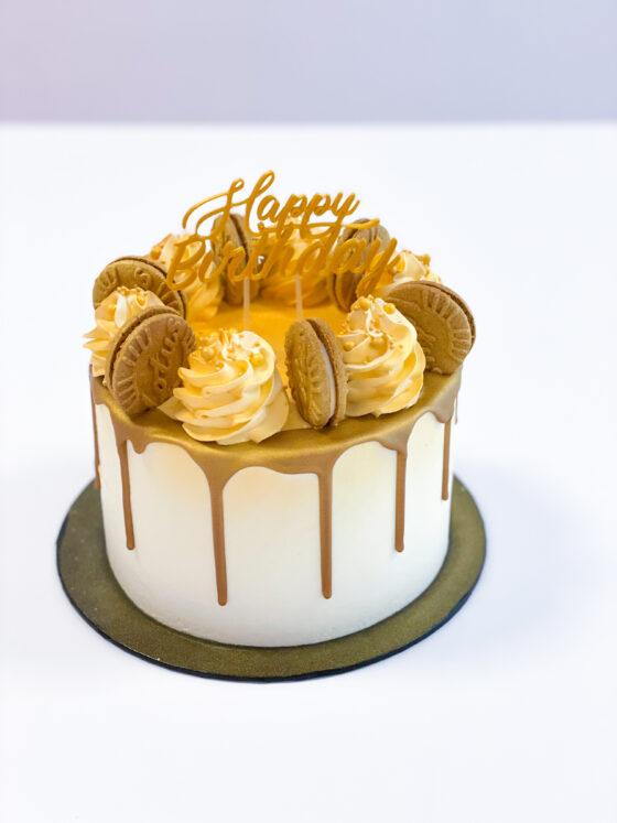 Lotustaart speculoostaart speculoos lotus breda botercreme buttercream koekjes gold goud dripcake 2