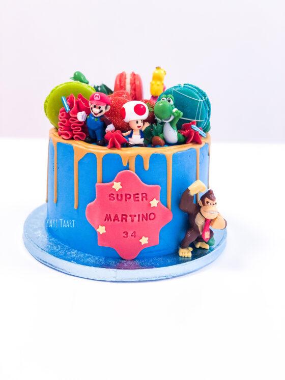 super mario bros nintendo taart cake dripcake breda