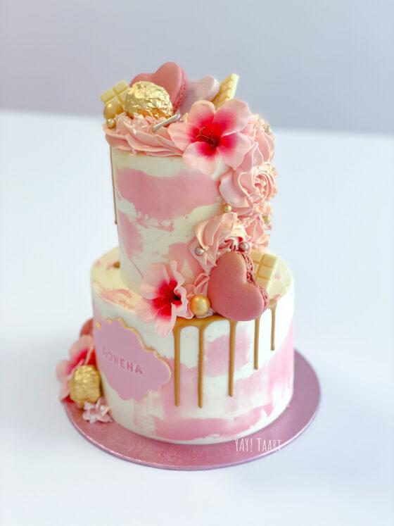 Rowena Verdaasdonk cake yay taart watercolor drip macarons breda oosterhout raamsdonksveer made roosendaal etten-leur tilburg pink order