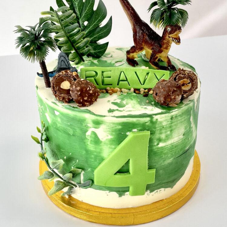Dino, verjaardagstaart, dinosaurus, dino taart, jongen, stoer, groen, beesten, Breda, Oosterhout, Etten-Leur