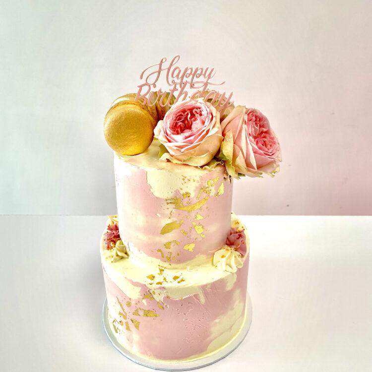 Taart, bloemen, macarons, bladgoud, verjaardag, bruiloft, feest, cake, watercolor, bloemen, Breda, Roosendaal, Ulvenhout, Dordrecht